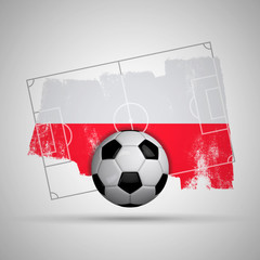 Poland flag soccer background with grunge flag, football pitch and soccer ball