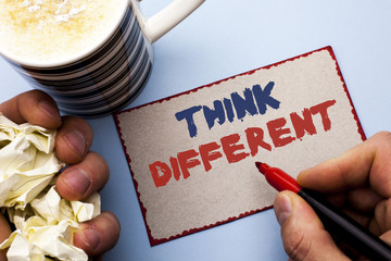 Writing note showing  Think Different. Business photo showcasing Rethink Change on vision Acquire...