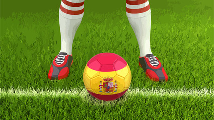 Man and soccer ball  with Spanish flag