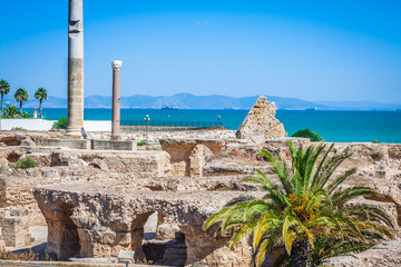 Keuken foto achterwand Tunesië Ancient ruins at Carthage, Tunisia with the Mediterranean Sea in the background
