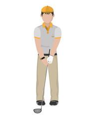 boy golfer with hat and golf bat