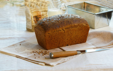 bread black, rye homemade with coriander
