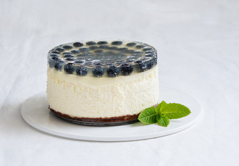 cheesecake with blueberry and lemon jelly
