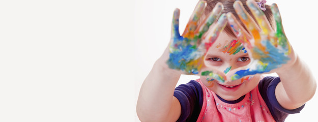 Colorful painted hands. (art, childhood, color, creativity concept)