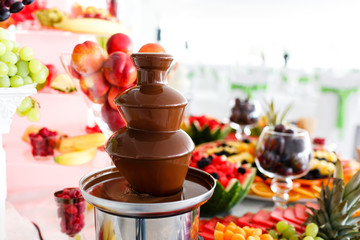 Chocolate Fountain And Fruits For Dessert At Wedding Table