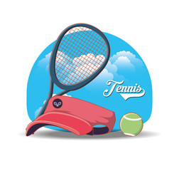 tennis sport cap icons vector illustration design