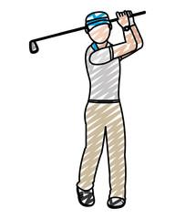doodle boy golfer with uniform play golf