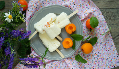 icecream pops with lemon and fresh apricots