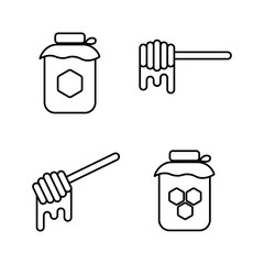 honey can, honeycomb and honey dipper icons on white background