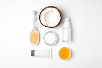 Homemade effective acne remedy and ingredients on white background
