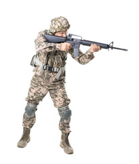 Male soldier with machine gun on white background. Military service