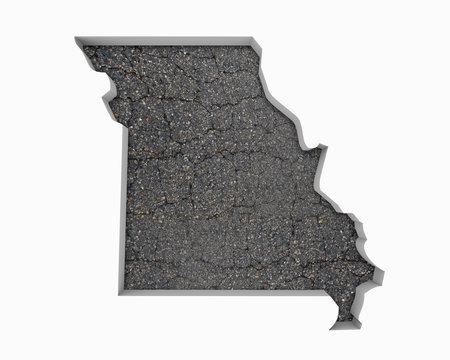 Missouri MO Road Map Pavement Construction Infrastructure 3d Illustration