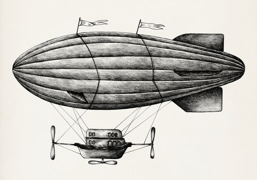Hand drawn airship isolated on background