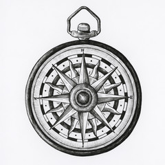 Hand drawn compass isolated on background