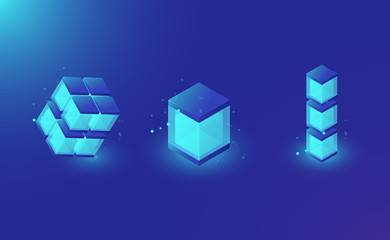 Blockchain technology lemets for design, isometric shining box, database, glass cube dark blue vector background
