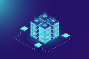 Server room rack, blockchain technology, token api access, data center, cloud storage concept, data axchange protocol illustration, dark neon gradient background