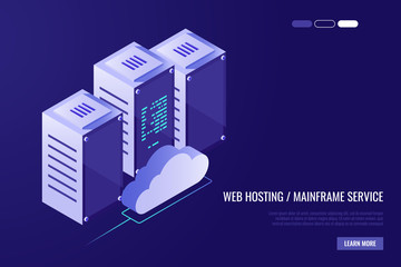 Cloud data center with hosting servers. Computer technology, network and database, internet center.Server racks with cloud in Isometric style.