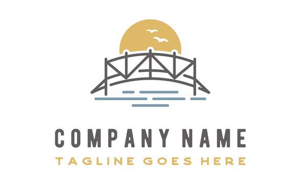 Sunset Wooden Bridge on Sea River Lake logo design