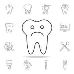 Tooth sad face sign icon. Detailed set of dental outline line icons. Premium quality graphic design icon. One of the collection icons for websites, web design, mobile app