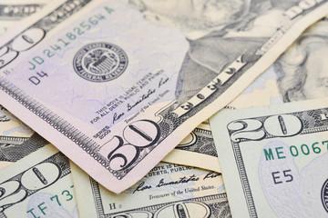 Dollar (USD) banknotes,cash pile background