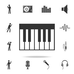 Piano Keyboard Icon app. Detailed set of music icons. Premium quality graphic design. One of the collection icons for websites; web design; mobile app