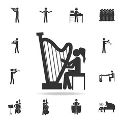 Girl playing the harp icon. Detailed set of music icons. Premium quality graphic design. One of the collection icons for websites; web design; mobile app