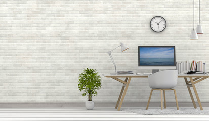 3D rendering of interior modern living room bright workspace with desk and laptop computer and green plants