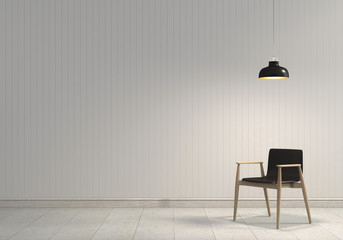 3D rendering of neutral interior with chair and lamp on empty wall background.