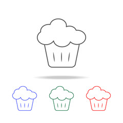 cupcake icon. Elements of fast food multi colored line icons. Premium quality graphic design icon. Simple icon for websites, web design, mobile app, info graphics