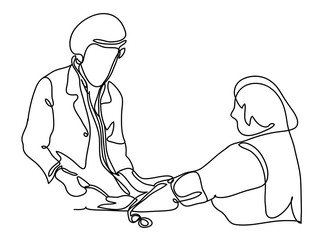 Doctor measures the blood pressure patient. Vector illustration. Isolated on white background. Continuous line drawing. Vector monochrome, drawing by lines.