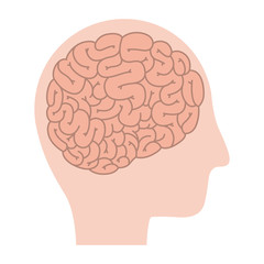 head profile human with brain