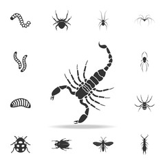 Scorpion. Detailed set of insects items icons. Premium quality graphic design. One of the collection icons for websites, web design, mobile app