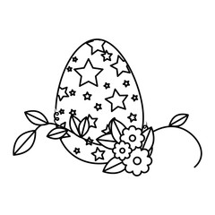 painted easter egg with floral decoration vector illustration design
