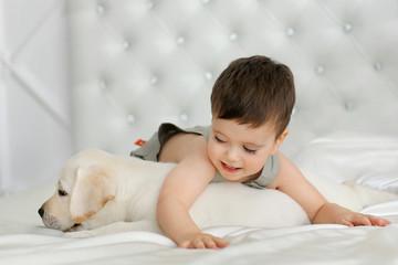 Boy with labrador puppy