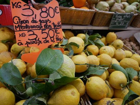 citron de Menton étalage marché