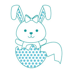 cute rabbit with broken shell egg easter celebration vector illustration design