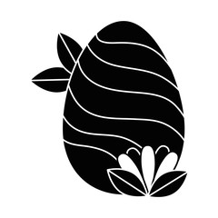 painted easter egg with lines and leafs vector illustration design
