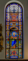 Stained glass window and interior of the German Church in Stockholm Sweden