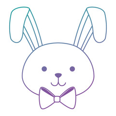 cute rabbit head easter celebration vector illustration design