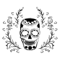 death day skull with wreath