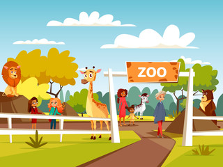 Zoo vector illustration or petting zoo cartoon design. Open zoo wild animas and visitors family with children interacting with African lion and giraffe, wild bear or zebra in natural area background