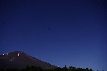 夏の富士山と北斗七星