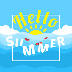 hello summer banner design with floating watermelon slice in water