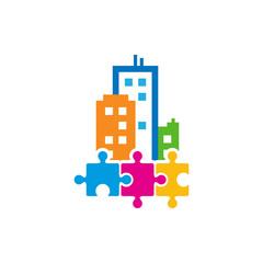 Puzzle Town Logo Icon Design