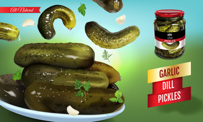 Vector realistic illustration of pickled cucumber. Horizontal banner with pickles.