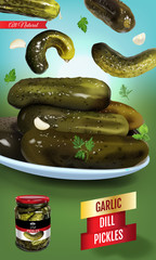 Vector realistic illustration of pickled cucumber. Vertical banner with pickles.