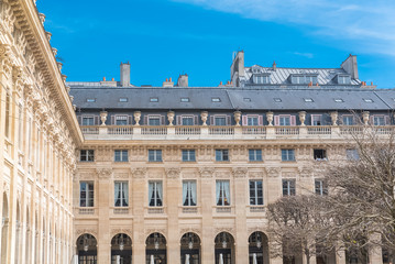 Paris, the Palais Royal gardens, beautiful facade