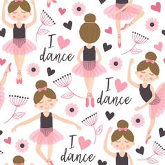 seamless pattern white with cute ballerina girl - vector illustration, eps