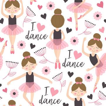 seamless pattern white with cute ballerina girl - vector illustration, eps