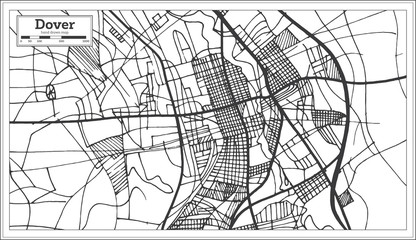 Dover Delaware USA City Map in Retro Style. Outline Map.
